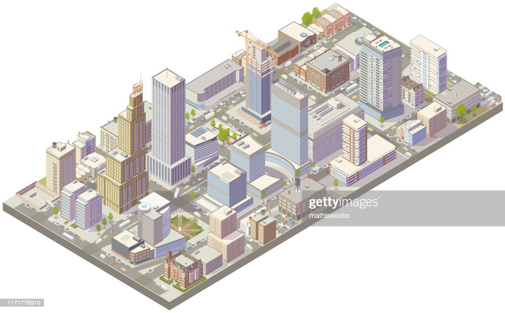 Aerial isometric city downtown : stock illustration
