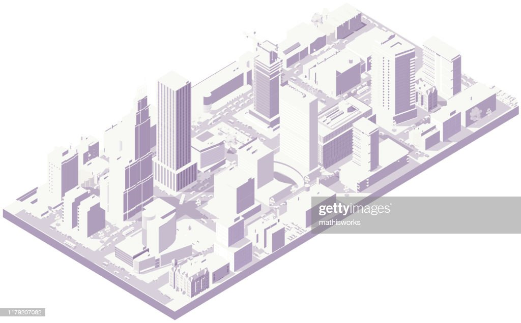 Aerial isometric city in white : stock illustration
