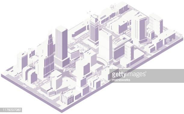 illustrazioni stock, clip art, cartoni animati e icone di tendenza di città isometrica aerea in bianco - città intelligente