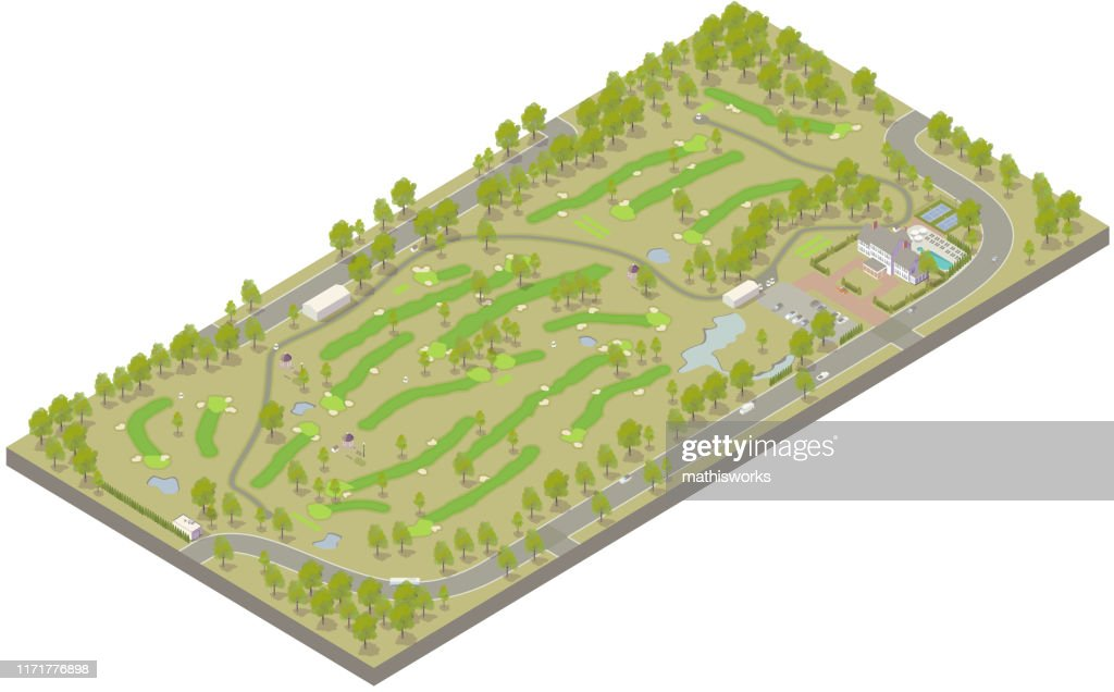 Aerial isometric golf course : stock illustration