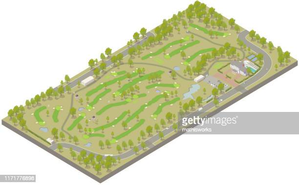 aerial isometric golf course - mathisworks stock illustrations