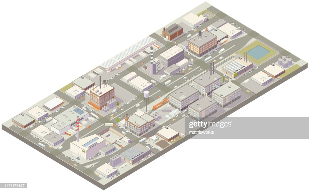 Aerial isometric industrial zone : stock illustration