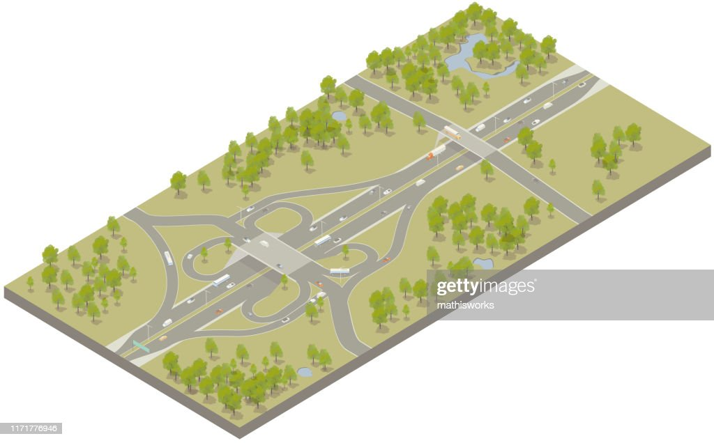 Aerial isometric interstate highway : stock illustration