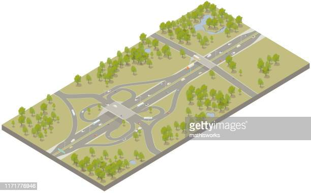 aerial isometric interstate highway - mathisworks stock illustrations
