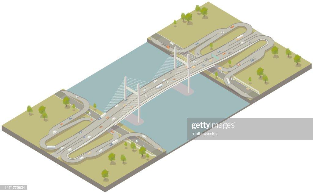 Aerial isometric modern bridge : stock illustration