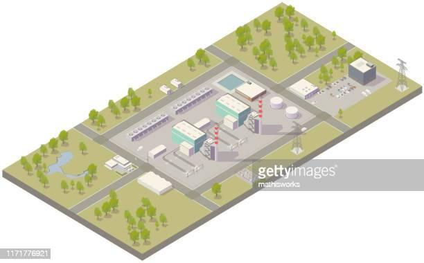 ilustrações de stock, clip art, desenhos animados e ícones de aerial isometric power plant - mathisworks