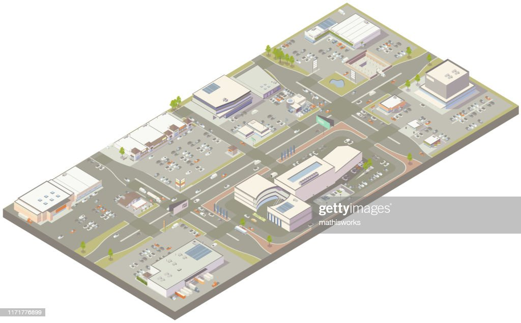 Aerial isometric retail zone : stock illustration