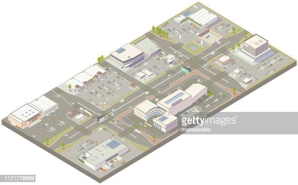 aerial isometric retail zone - mathisworks vehicles stock illustrations