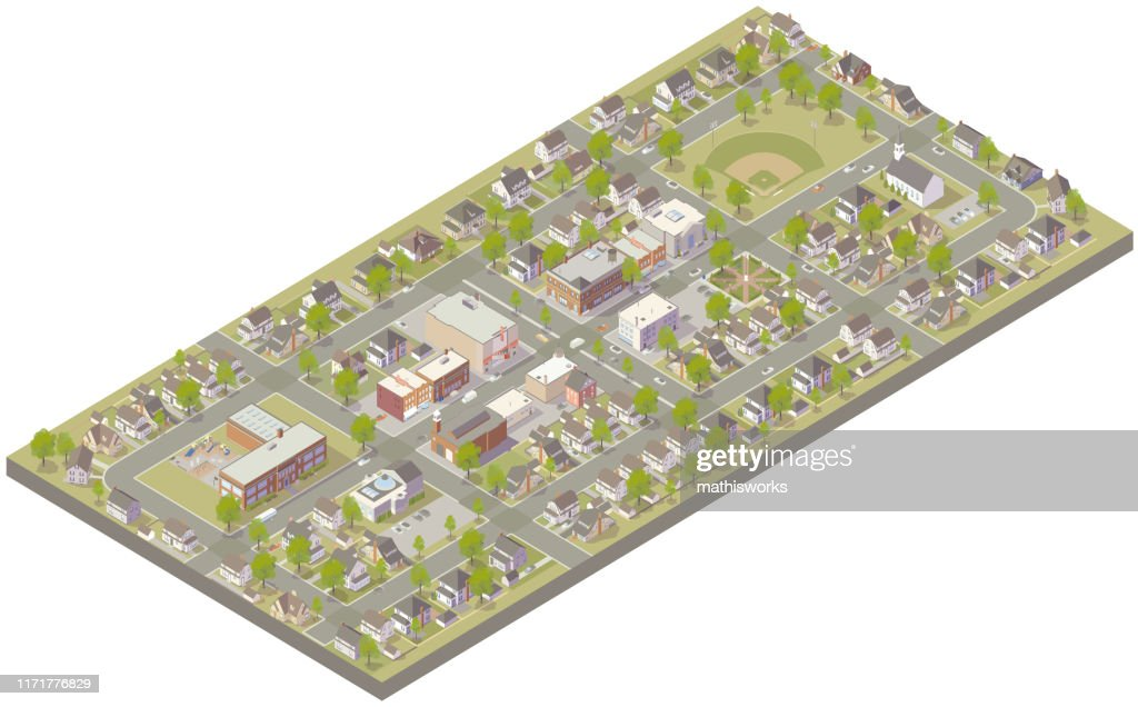 Aerial isometric small town : stock illustration