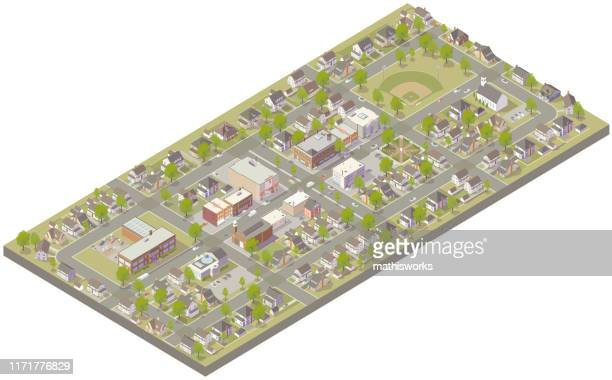 aerial isometric small town - mathisworks stock illustrations