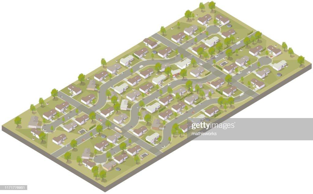 Aerial isometric suburban development : stock illustration