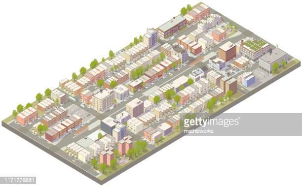 aerial isometric urban neighborhood - housing development stock illustrations