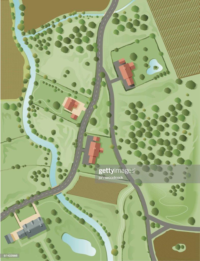 Aerial landscape : Stock Illustration
