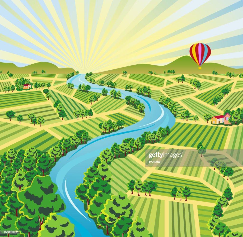 Aerial Sunrise Farmland View : stock illustration
