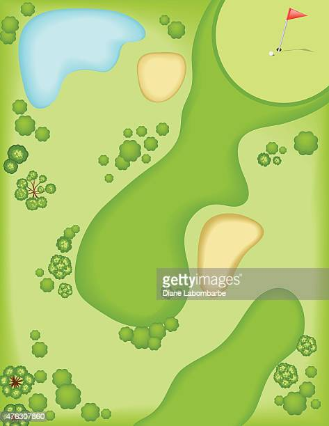 aerial view of a golf course - green golf course stock illustrations, clip art, cartoons, & icons