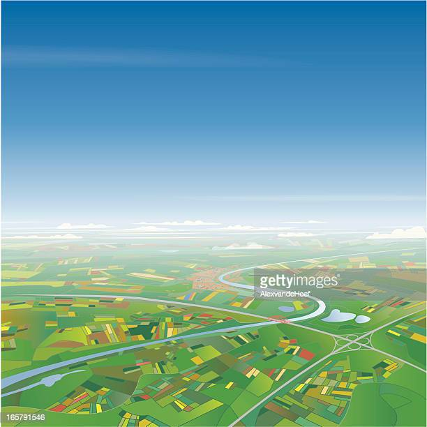 aerial view on landscape - above stock illustrations