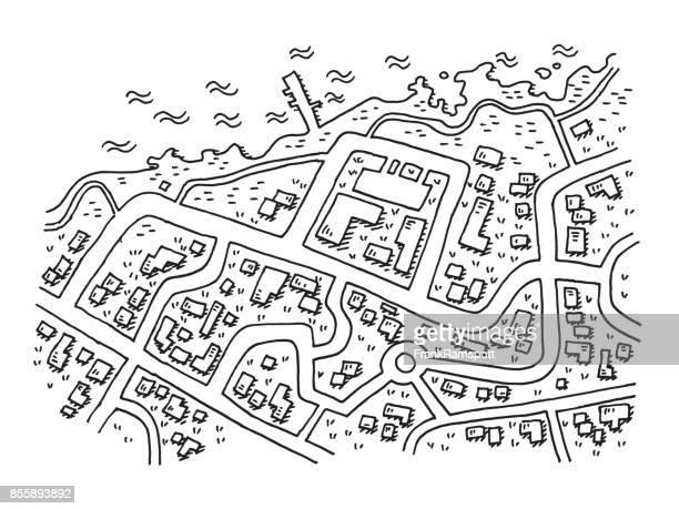 ilustrações, clipart, desenhos animados e ícones de desenho de aldeia costeira de mapa aéreo street view - mapa de rua