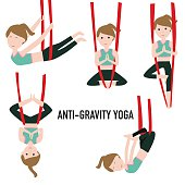 Aerial Yoga. Aero Yoga. Anti-gravity Yoga. Women doing anti gravity yoga exercise.illustration EPS10.