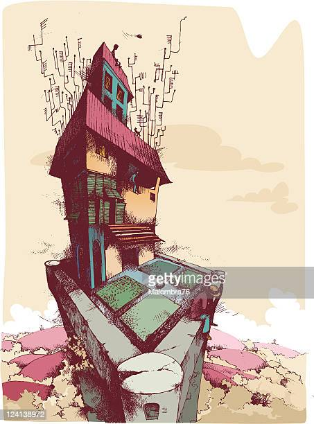 aerials town - surrealism stock illustrations