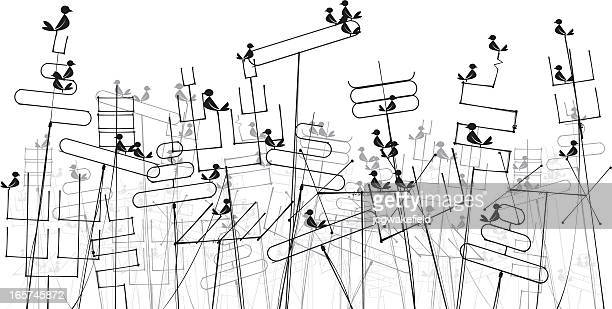 aerials with birds - television aerial stock illustrations, clip art, cartoons, & icons