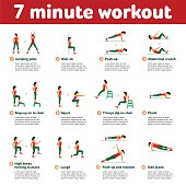 Aerobic icons. 7 minute workout