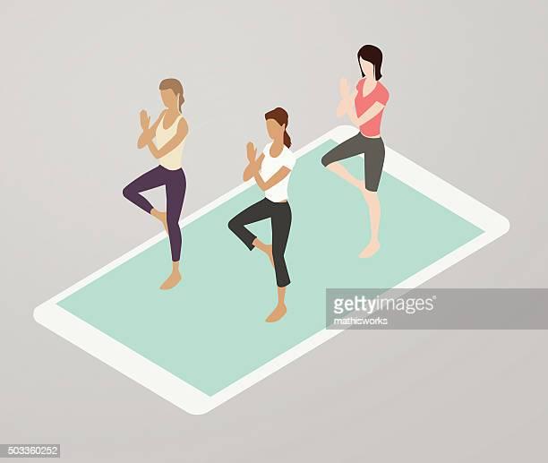 aerobics app illustration - aerobics class stock illustrations, clip art, cartoons, & icons