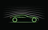 aerodynamics stylized car coupe