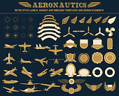 aeronautics labels templates set