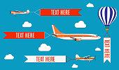 Aeroplane, planes, biplane and hot air balloon.