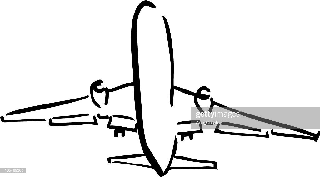 aeroplane takeoff sketch vector art