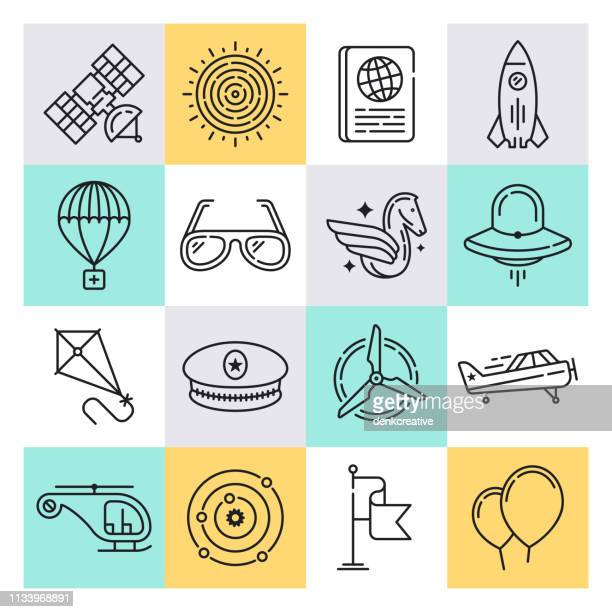 Aerospace Applications Outline Style Vector Icon Set