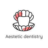 Aesthetic dentistry. Tooth or veneer inside the pearl shell. Dental icon. Stomatology illustration.