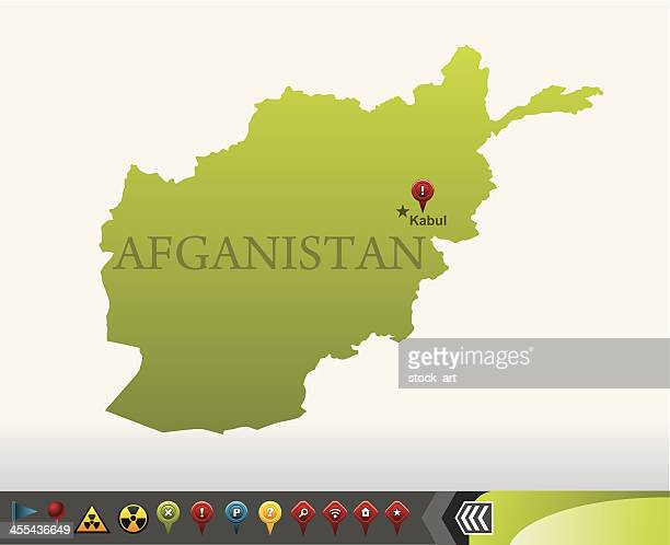 Afganistan map with navigation icons