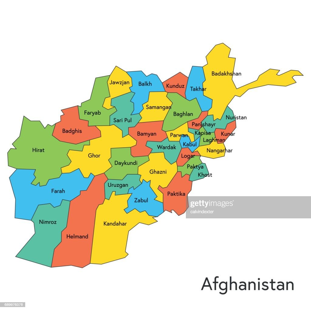 Afghanistan color map with regions