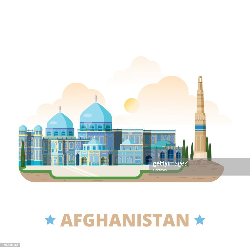 Afghanistan country magnet design template. Flat cartoon style historic sight showplace web vector illustration. World vacation travel sightseeing Asia Asian collection. Blue Mosque Minaret of Jam.