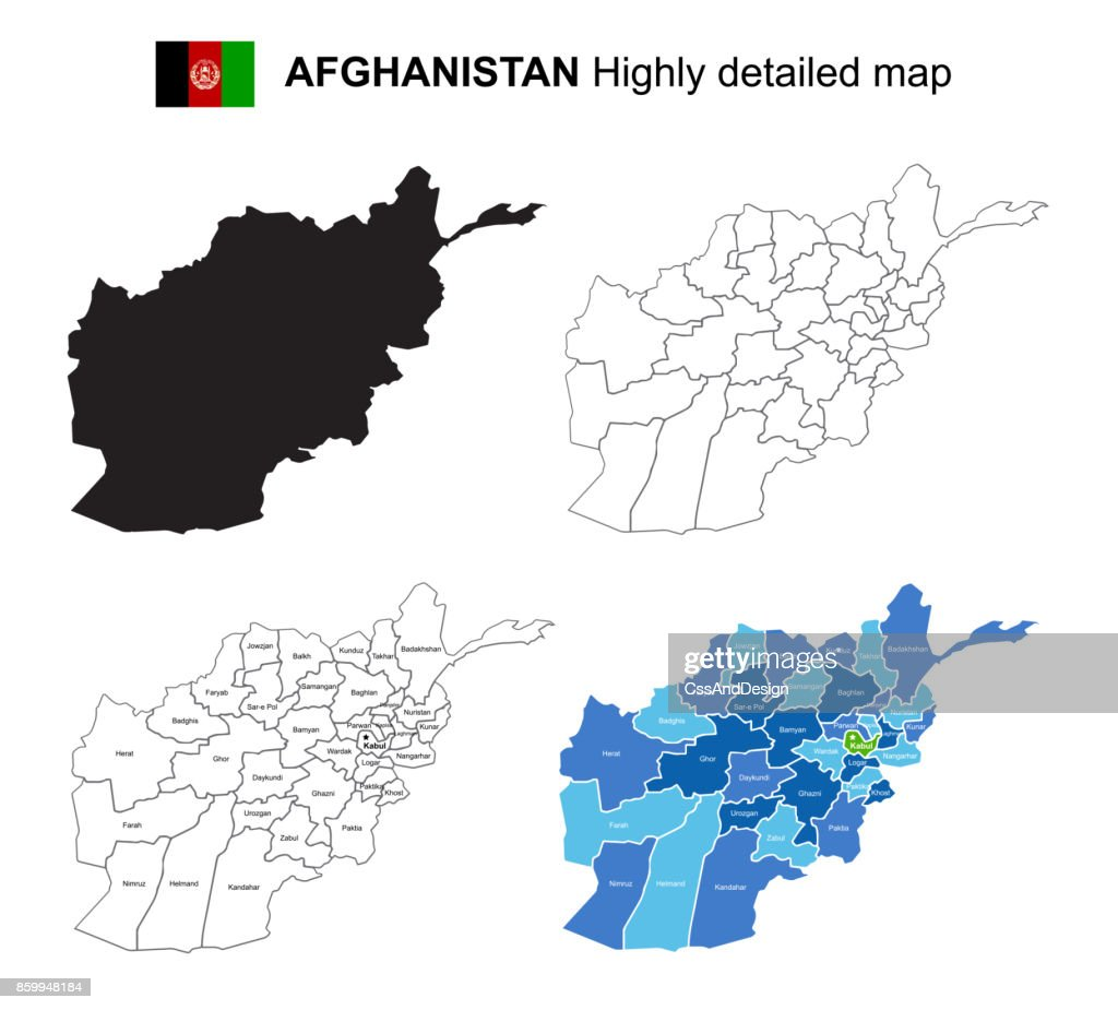 Afghanistan - Isolated vector highly detailed political map with regions, provinces and capital. All elements are separated in editable layers EPS 10.