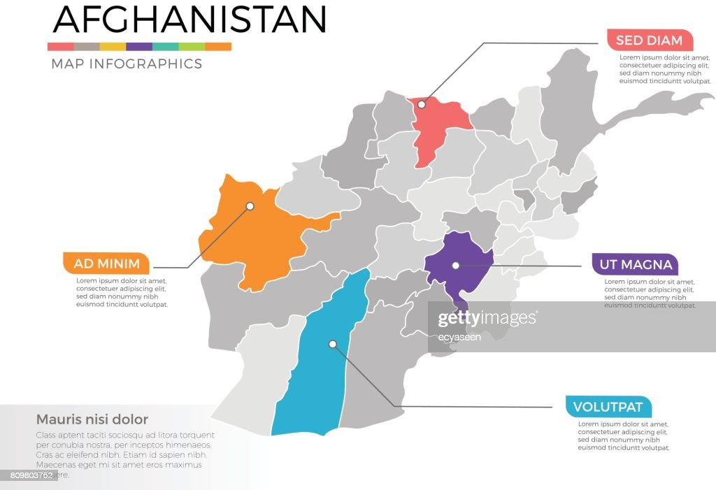 Afghanistan map infographics vector template with regions and pointer marks
