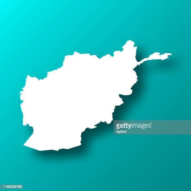 afghanistan map on blue green background with shadow - afghanistan stock illustrations