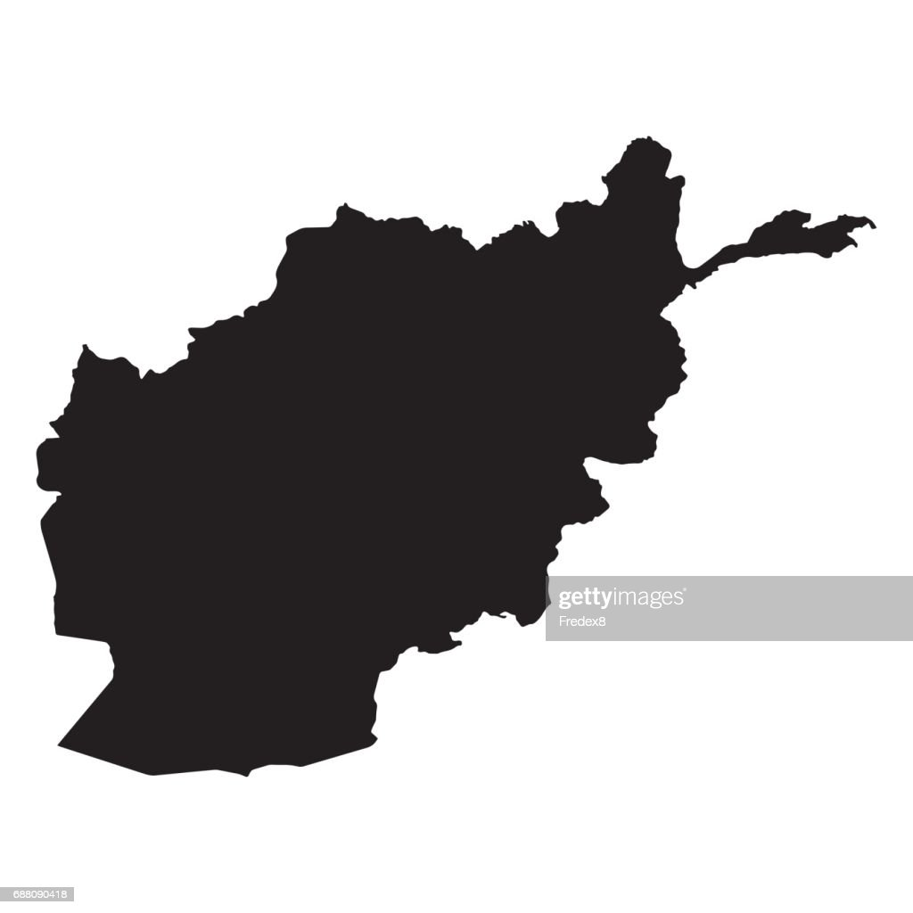 Afghanistan Map Outline Shape Black on White Vector Illustration