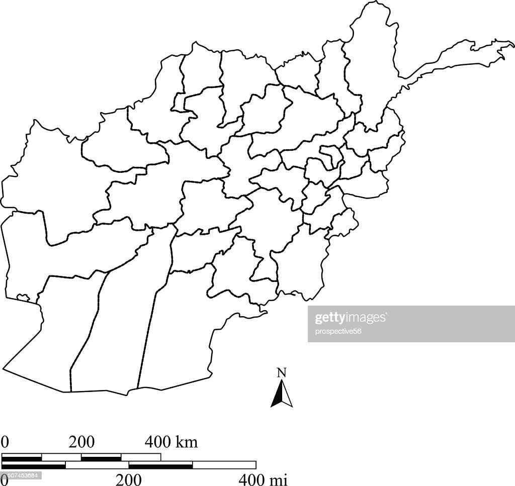 Afghanistan map outline vector with scales in a blank design