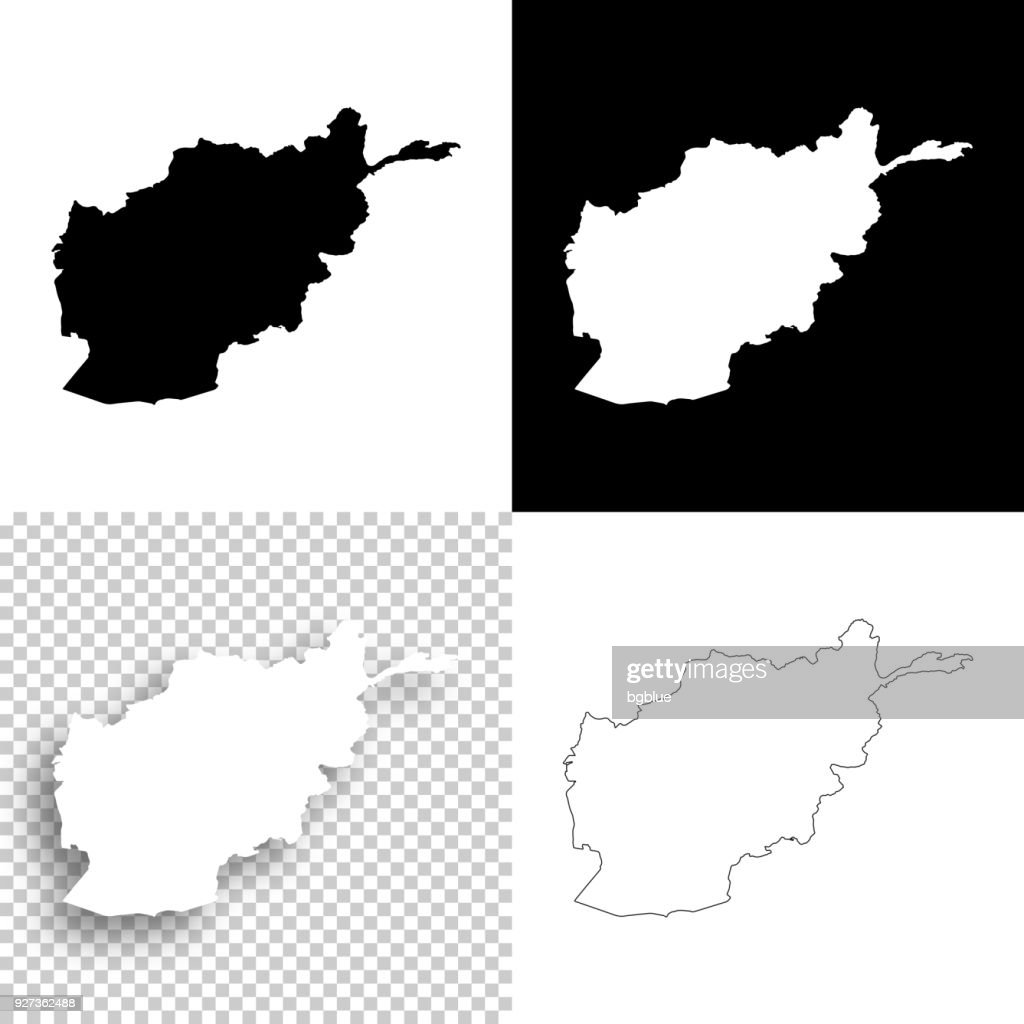 Afghanistan maps for design - Blank, white and black backgrounds