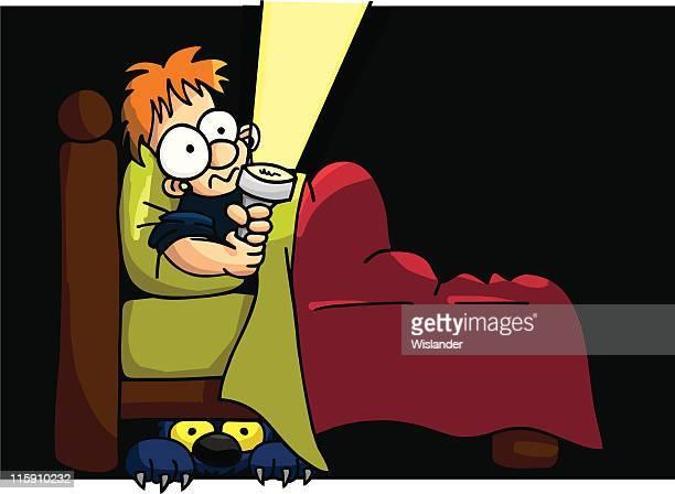 afraid of the dark - flashlight stock illustrations, clip art, cartoons, & icons