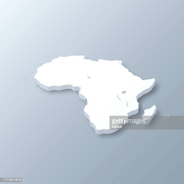 Africa 3D Map on gray background