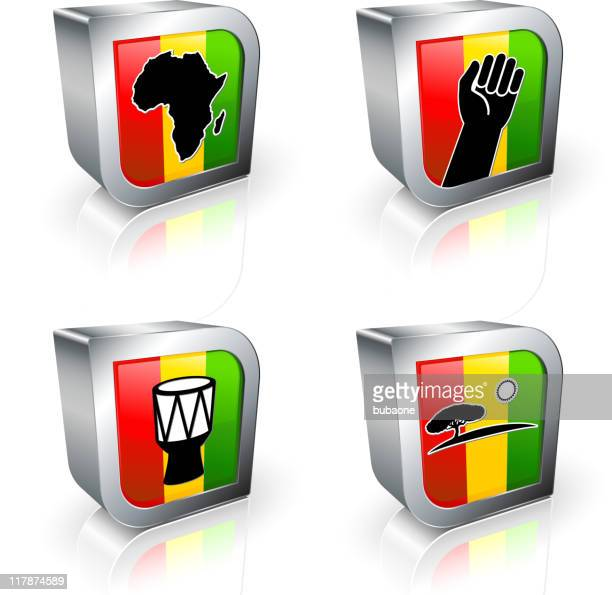 africa 3d royalty free vector icon set - black power stock illustrations