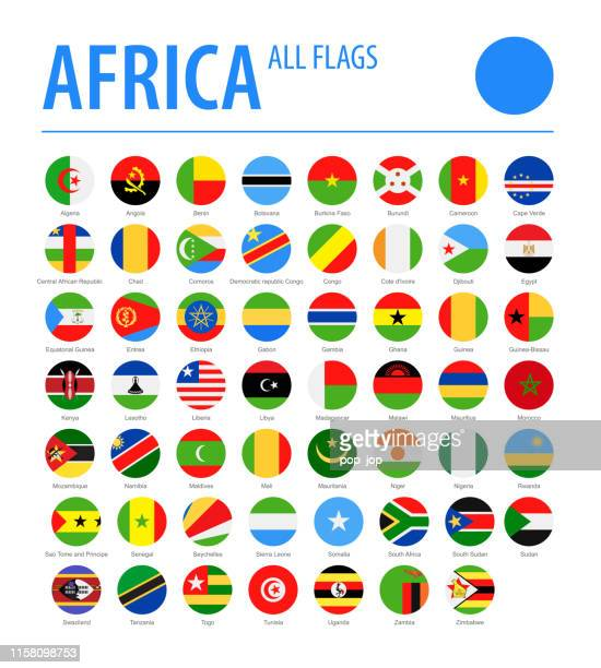 africa all flags - vector round flat icons - flag stock illustrations