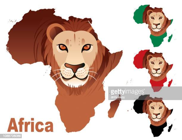 africa and lion - senegal stock illustrations, clip art, cartoons, & icons