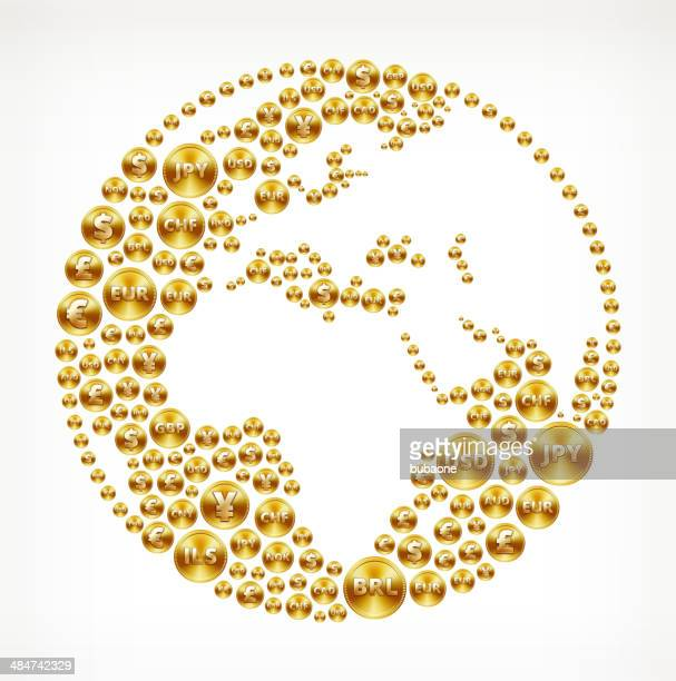 africa and part of asia globe made with gold buttons - fiscal year stock illustrations