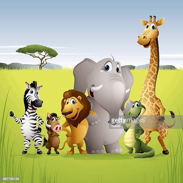 africa animal friends - cute stock illustrations