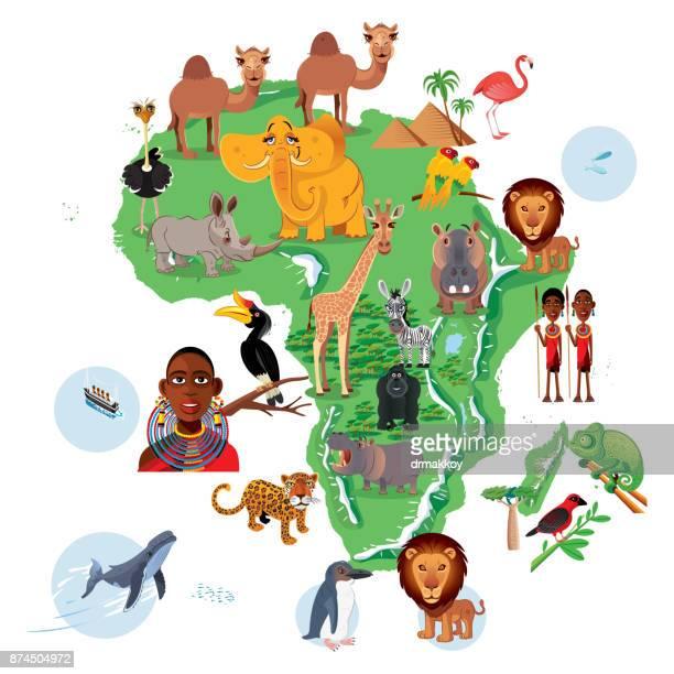 africa animals map - madagascar stock illustrations, clip art, cartoons, & icons