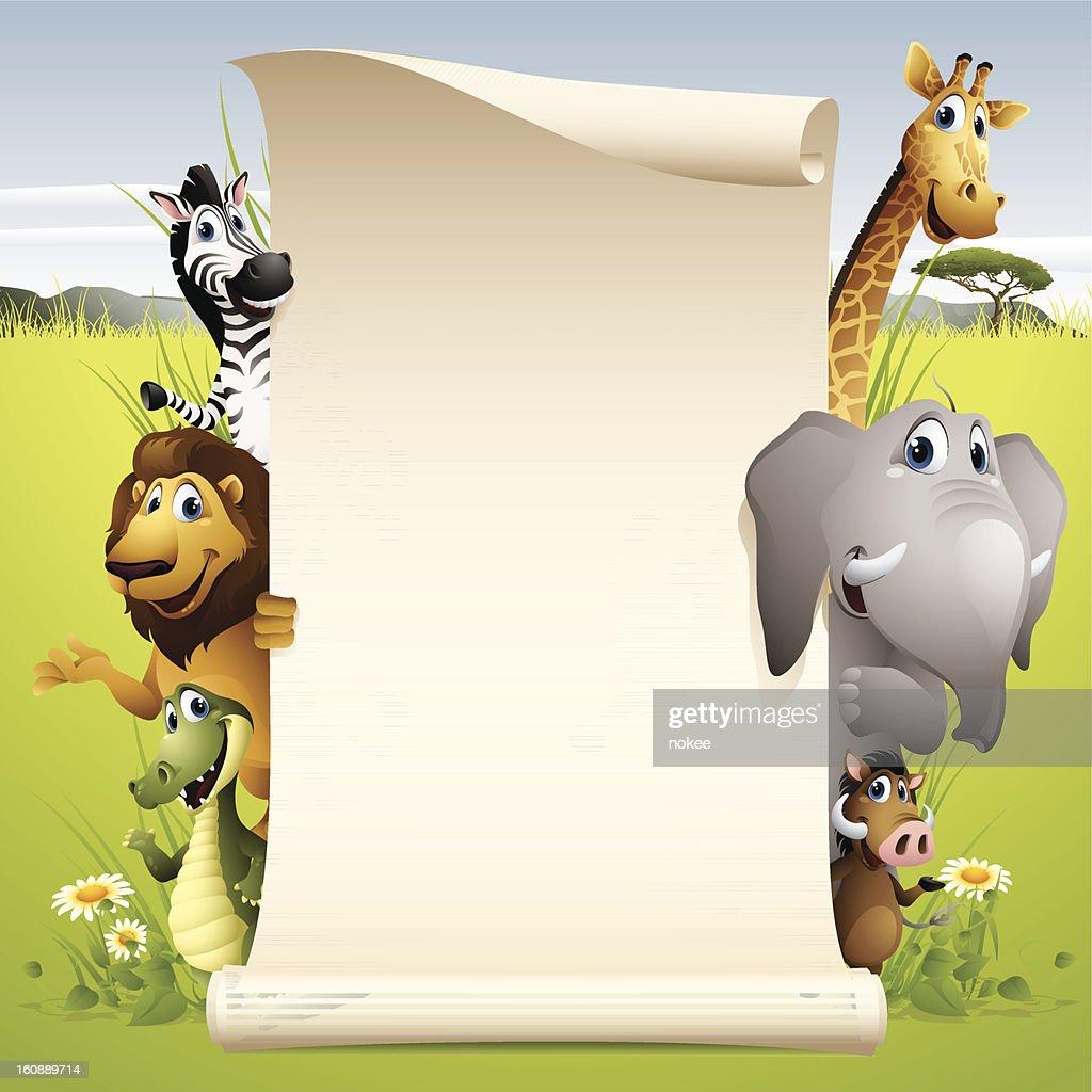 Africa Animals - scroll : Vektorgrafik